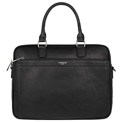 David Jones - Heren Grote Business Aktetas Handtas - 15 inch Laptoptas Notebooktas PU Leer - Briefcase Satchel Werk School - Veel Zakken Schoudertas Crossbodytas - Zwart