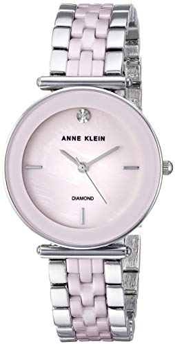 Anne Klein Women's AK/3159LPSV Diamond-Accented Silver-Tone and Light Pink Ceramic Bracelet Watch