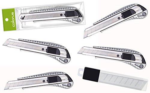 5 x Premium Colorus Alu Druckguss Cuttermesser 18mm | Teppichmesser Allzweckmesser Universalmesser | Kartonmesser mit Arretierung | Paketmesser mit Metallführung | Inklusive 10 x Abbrechklingen