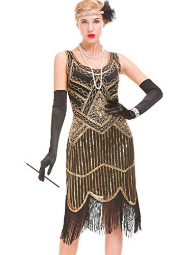 GVOICE Damen 1920er Jahre Vintage Kleid - Fransen Great Gatsby Kleid (Dunkles Gold, S(UK 10 / EU 38)...