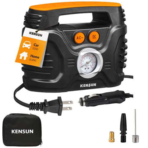 Kensun AC/DC Power Supply Portable Air Compressor Pump with Analog Display to...
