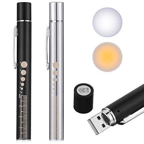 Pen Light, Reusable LED Penlight for Students Doctors Nurses with 2 Light LED Sources, USB Rechargeable, Extra Warm Light Bulb, Pocket Clip (Black, Silver,2 Pieces)