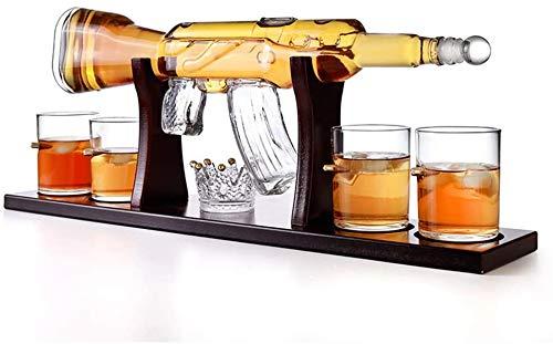LCZ Decanter di Vetro a Forma di Pistola a Forma di Pistola da 800 ml con Set di Occhiali da 4 Pezzi Whisky, recipiente di Vino per Vodka, Vino Rosso Come Regalo per Il Giorno del papà