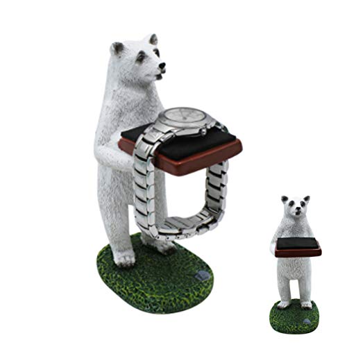 JUMISEE Cute Polar Bear Watch Stand Creative Watch Storage Jewelry Display Table Ring Eyeglass Holder for Office Home Decoration