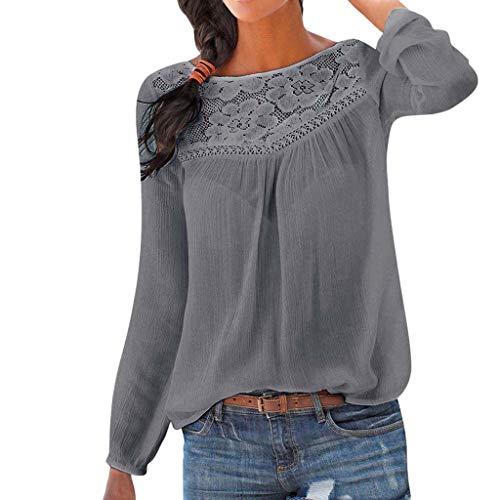 Lazzboy Patchwork Oberseiten Bluse Tunika Frauen Beiläufige Lange Hülsen Spitze Damen Blumen T-Shirt V Ausschnitt Knopfleiste Oberteil(Grau,S)