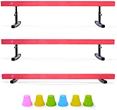 Z ZELUS Balance Beam Gymnastics for Kids, 8ft Adjustable Gymnastics Equipment for Home, Solid Suede Balance Beam with Foams and Colorful Hurdles (Pink)