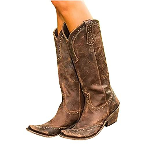 GesOes Damen Spitze Stiefel Mode Metall Dekorieren Stiefel Frauen Herbst Lange Röhre Niedrige Absätze Stiefel Spitz Stiefel Herbst Winter Vintage Langschaft Boots