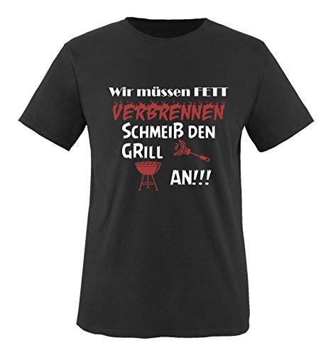Comedy Shirts - Wir müssen Fett verbrennen schmeiß den Grill an!!! - Herren T-Shirt - Schwarz/Weiss-Rot Gr. 3XL
