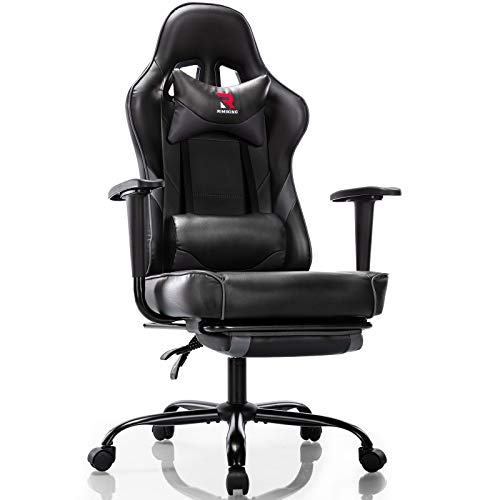 Rimiking Ergonomic Gaming Chair with Footrest - Adjustable Swivel Leather Racing Computer Desk Chair with Lumbar Support and Headrest for Adult and Kid (Grey)