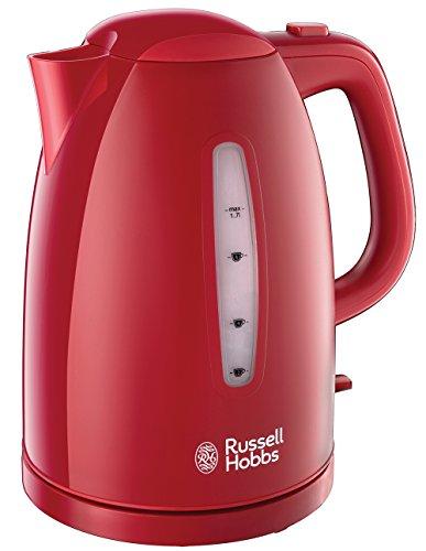 Russell Hobbs Wasserkocher, Textures rot, 1,7l, 2400W, Schnellkochfunktion, optimierte Ausgusstülle, herausnehmbarer Kalkfilter, Teekocher 21272-70