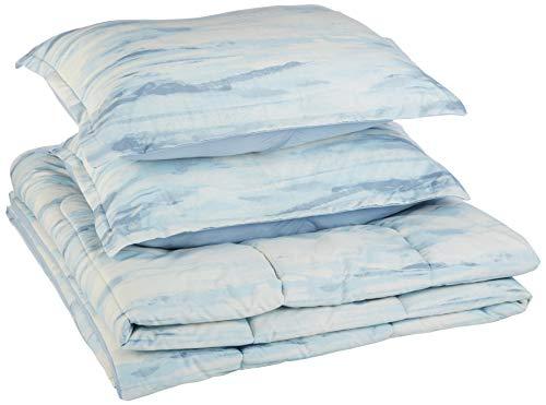AmazonBasics Comforter Set, King, Blue Watercolor, Microfiber, Ultra-Soft