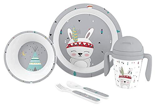 Vajilla Bebé 5 Piezas Apta para microondas + regalo de un babero (Gris Indio)