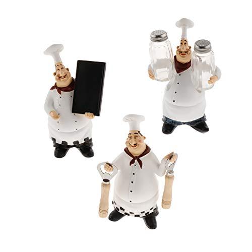 SM SunniMix 3pcs Statue de Chef Objets de Décoration Embellissement pour Maison, Cuisine, Bistro, Boulangerie