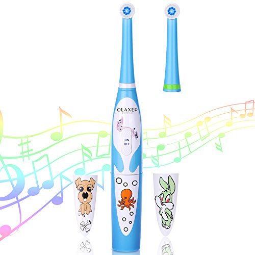 Electric Kids Tooth Brush OLAXER IPX6 Soft Kids Electric Musical Spinning Toothbrush Powered by 2XAAA Batteries Automatic Singing Toothbrush Set with Timer for Kids 2 Brush Heads Included