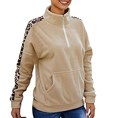 TWGONE Half Zip Pullover Women Fleece Winter Long Sleeve Stitching Leopard Zipper Blouse Mock Turtleneck Sweatshirt