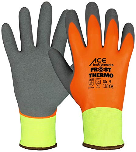 ACE 1 Paar Frost Thermo Winter-Arbeitshandschuhe - Kälte-Schutzhandschuhe - EN 388/420/511 - Orange/Blau - 08/M