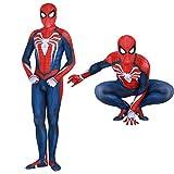 YuanMan PS4 Insomniac Spiderman Costume 3D Print Spandex Halloween Zentai Suit Adult/Kids, Blue, Adult-S