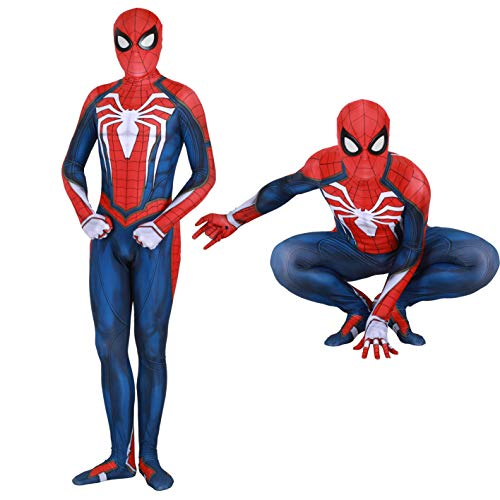 Spider Man PS4 Insomniac Spiderman Costume 3D Print Spandex Halloween Zentai Suit Adult/Kids (Adult-XL, PS4 Suit) … … Blue