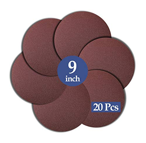 Zorfeter 20 PCS 9-Inch Sanding Disc, 80 Grit NO-Hole Aluminum Oxide Round Flocking Sandpaper for Drywall Sander, Self Stick