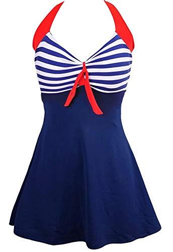 Sixyotie Damen Einteiler Badekleid Blumen Muster Gepolstert Badeanzug mit Shorts Große Größen Bademode (Navy, XXL)