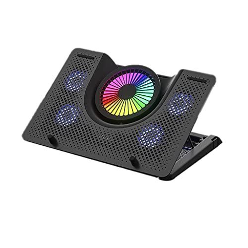 Soporte de refrigeración para portátil con 5 ventiladores grandes silenciosos, disipador de calor más rápido, 2 puertos USB para ordenador portátil (color negro)