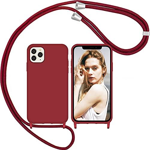Nupcknn Funda con Cuerda para iPhone 11 Pro, Anti-Choque Anti-arañazos Carcasa Silicona Case con Correa Colgante Colgante movil Ajustable Case ((Vino Tinto))