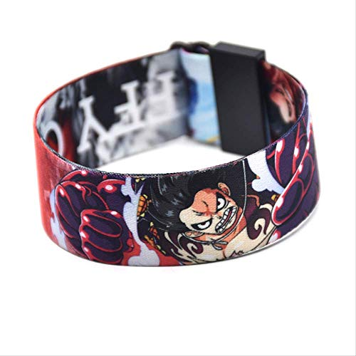 One Piece Luffy Pulsera Dibujos Animados Anime Ajustable Cinta Pulseras 3D Impresión Correa De Mano Ocio Hip Hop Accesorios