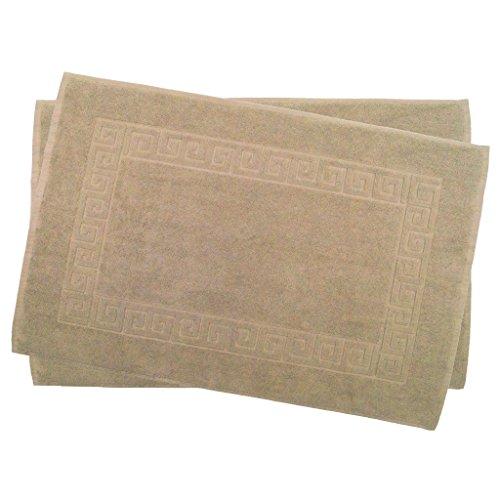 Julie Julsen 2er Pack 50 x 80 cm Badvorleger in Premium Qualität 900 gm2 in aktuellen Farben und 4 Größen aus Baumwolle Badematte Badteppich Duschvorleger Design Spirale Sand