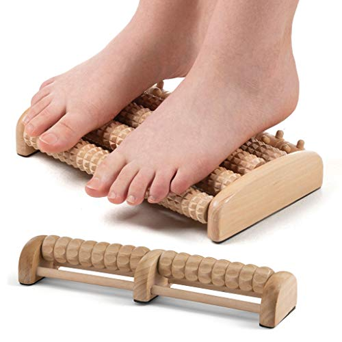 Medical King Foot Massage Roller Set of 2 Includes a Dual Wooden Foot Massagaser and Single Roller...