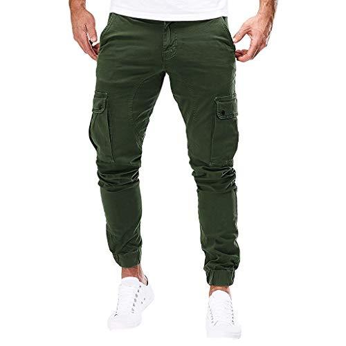 Subfamily Pantalones de Herramientas Deportivas Casuales Multibolsillos de Color Liso para Hombre Azul Marino Pocket Overol Casual Pocket Sport Work Pantalones de Pantalón Casuales Ejercito Verde XL