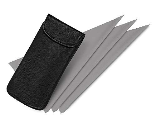 Hochwertiges Brillenetui weiches Einstecketui (schwarz) aus echtem Leder mit Klettverschluss und innen mit weichem Samt ausgefüttert Größe 170 x 80 mm