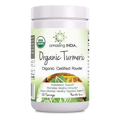Amazing India USDA Certified Organic Turmeric Powder (Non-GMO) - 16 Oz - Antioxidant Support - Promotes Healthy Immunity - Helps Maintain Healthy Digestive System