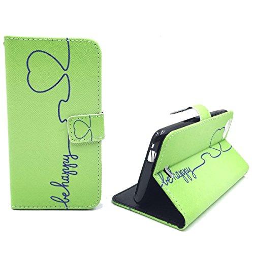König Design Handyhülle Kompatibel mit Wiko Rainbow Jam Handytasche Schutzhülle Tasche Flip Hülle mit Kreditkartenfächern - Be Happy Design Grün