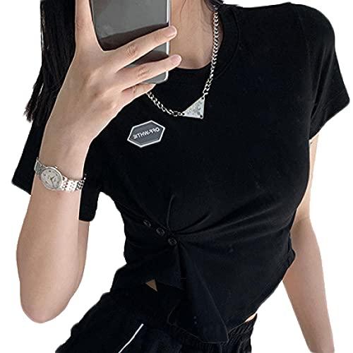 Cuello Redondo Camiseta Crop Top Mujer Niña Manga Corta Crop Top Aesthetic con Negro Top Ombligo M