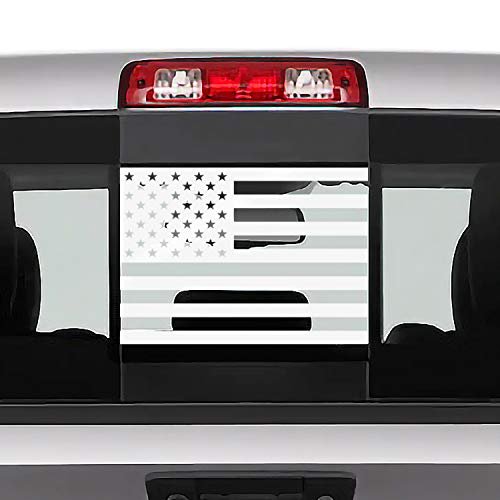 Bogar Tech Designs Rear Middle Window American Flag Vinyl Decal Compatible with and Fits Dodge Ram 2009-2020, Gloss White