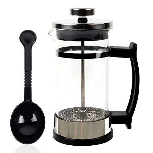 Cafetera con filtro francés, filtro de tres capas, no se daña fácilmente, apto para el hogar, la cocina, la oficina y otros lugares, cafetera negra, filtro, espumador de crema
