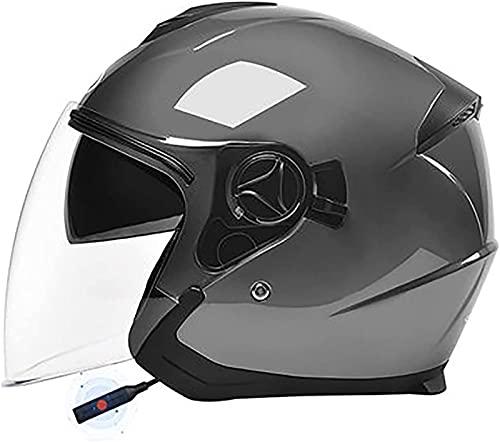 Casco De Moto Vintage Con Bluetooth De Cara Abierta, Casco De Moto Vespa Jet Con Visera Solar, Medio Casco De Motocicleta, Medio Casco/Cascos De Ciclomotor Aprobados Por ECE Para B1,54-59CM