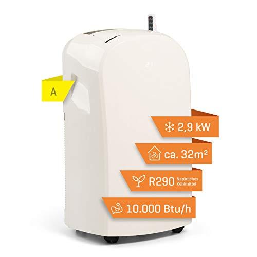 Climia CMK 2950 mobiles Klimagerät mit umweltfreundlichem Kältemittel R290, 3-in-1 Klimaanlage – Aircondition, Ventilator und Luftentfeuchter, EEK: A (Weiß)