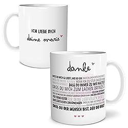 OWLBOOK Danke Liebe große Kaffee-Tasse mit Spruch und Namen personalisiert im Geschenkkarton schöne Geschenkidee Geschenke für Pärchen
