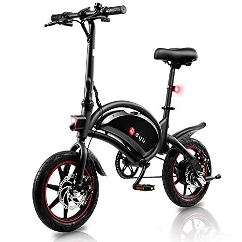 Bici Elettrica,Bicicletta Elettrica Pieghevole 250W,Batteria da 10Ah,Illuminazione LED,Pneumatici da 14 Pollici,Guida a Lunga Distanza di 60km,3 modalità di Lavoro,Impermeabilità IP54,Sella Regolabile