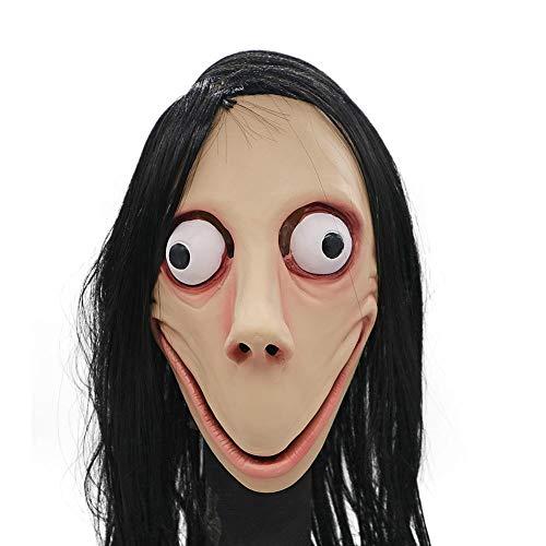 duhe189014 Máscara de Halloween para la Cubierta de la Cabeza de Momo Máscara de Miedo Papel de Halloween Jugar con Disfraces de Disfraces realistas Terrorist Tricks Props