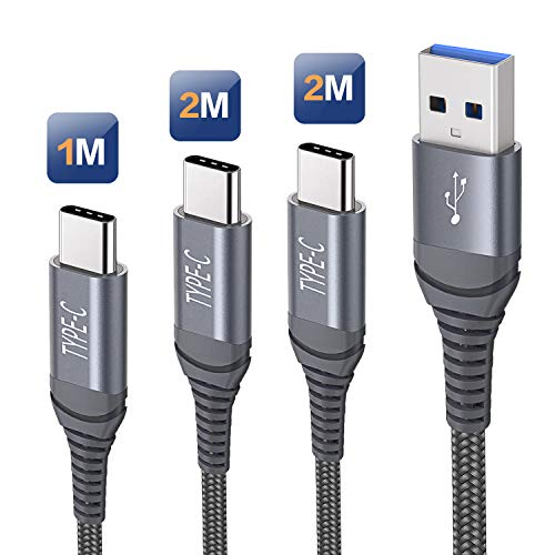 Cavo USB Tipo C,Cavetto Caricabatteria Ricarica Rapida Compatibile con Samsung S20 S21 Plus Ultra 5G S10 S9 S8,Galaxy Note 10 9,Cavo USB C Nylon Intrecciato per Huawei P20 P10 Mate20[3Pezzi,1M+2M+2M]