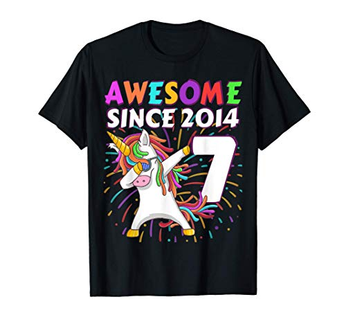 7 Años Cumpleaños Niño Niña Regalo unicornio 2014 Camiseta