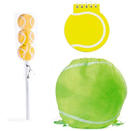 Lote 6 Mochilas, libreta y lápiz con Gomas de borrar diseño Tenis. Regalos para Eventos Infantiles. Detalles Bodas, Comuniones, bautizos, cumpleaños Niños