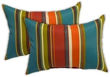 Set of 2 Indoor Outdoor Rectangle Lumbar Decorative Accent Throw Toss Pillows, Westport Teal, Orange, Red, Green Stripe -- Ch