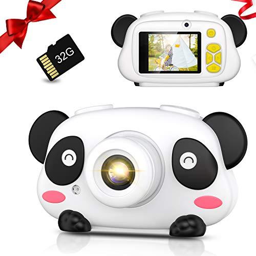 令和3年最新型子供用デジタルカメラ キッズカメラ 1080P高画質 トイカメラ 32GBカード付き 録画/撮影 多機能 USB充電式 操作簡単・安全安心 子供向けカメラ 耐衝撃 2.5インチIPS画面 フルHD ビデオ録画 連続撮影 タイマー撮影 自撮り可能 可愛いフレームやフィルター おもちゃ 知育玩具 子供の日/誕生日/入園/入学/祝い/クリスマス プレゼント・ギフト 贈り物 コンパクト 軽量 携帯便利 大容量 子供用カメラ 男女兼用 日本語説明書(パンダモデル)