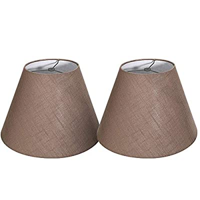 Tootoo Star Double 7x14x9 inch Fabric Natural Linen Cone Barrel Hand Craft Medium Lamp Shade Set of 2, Lampshade for Floor Table Lamp,Spider for Lamp has Harp (Brown)