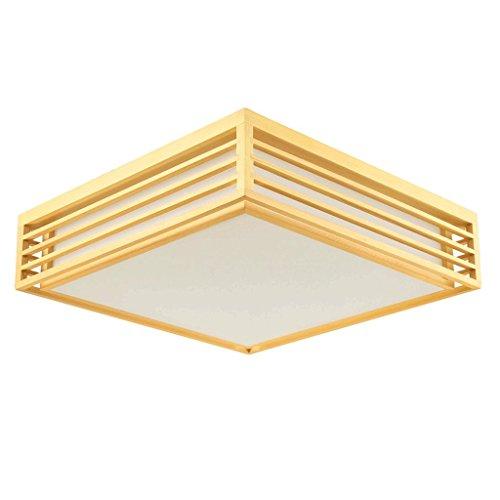 PIAOLING Plafonnier minimaliste moderne en bois carré, éclairage de style japonais à économie d'énergie de chambre à coucher chaude de LED, abat-jour de PVC (Taille : S-45 * 45 * 12CM)