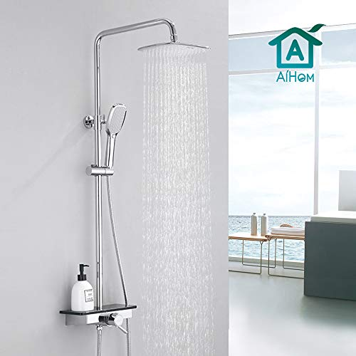AiHom Thermostat Duschsystem mit Regal, Doppelfunktions Handbrause Edelstahl, Duschset für Badezimmer, inkl. Handbrause, Kopfbrause, Duscharmatur, Duschstange messing