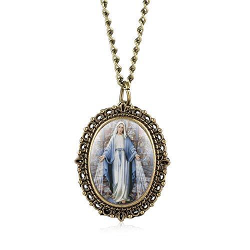 LLXXYY Halskette Taschenuhr Vintage Herren Damen Weihnachten Geschenk Unisex,Neuheit Retro Katholische Jungfrau Maria Quarz Taschenuhr Bronze Souvenir Halskette Uhr Geschenke Für Männer Frauen